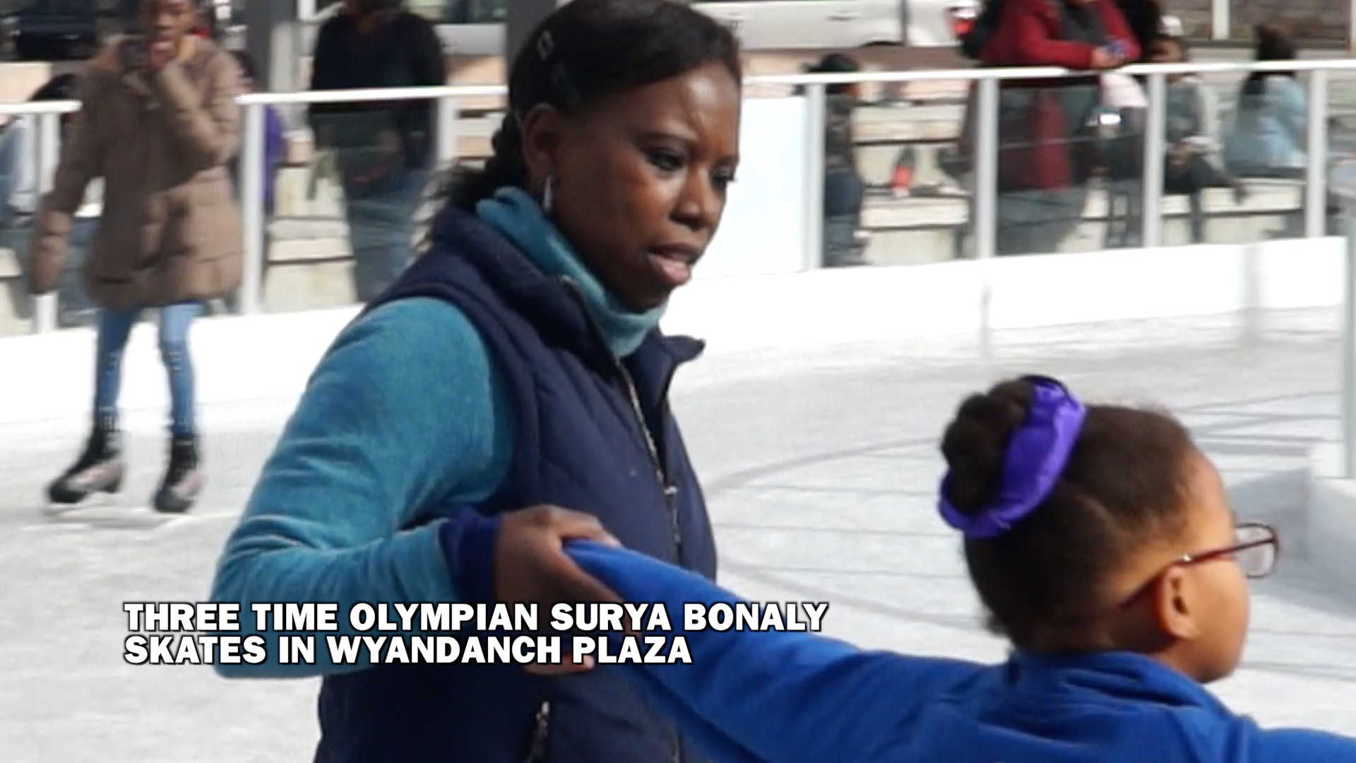 Three Time Olympian Surya Bonaly Ice Skates in Wyandanch Plaza